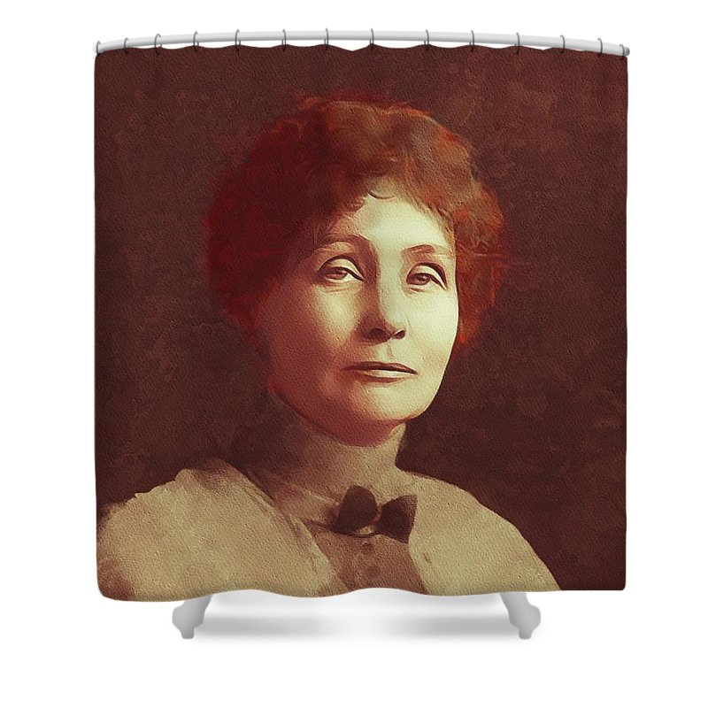Emmeline Shower Curtain featuring the painting Emmeline Pankhurst, Suffragette by Mary Bassett