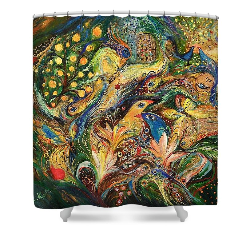 Original Shower Curtain featuring the painting Emotion In Green by Elena Kotliarker