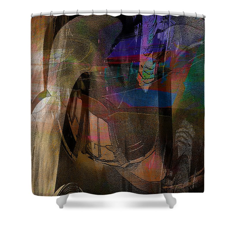 Abstract Shower Curtain featuring the digital art Emp C by James Estes