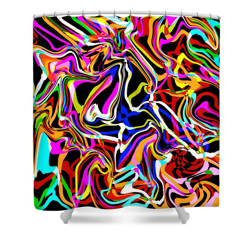 Abstract Shower Curtain featuring the digital art Emperer by Blind Ape Art