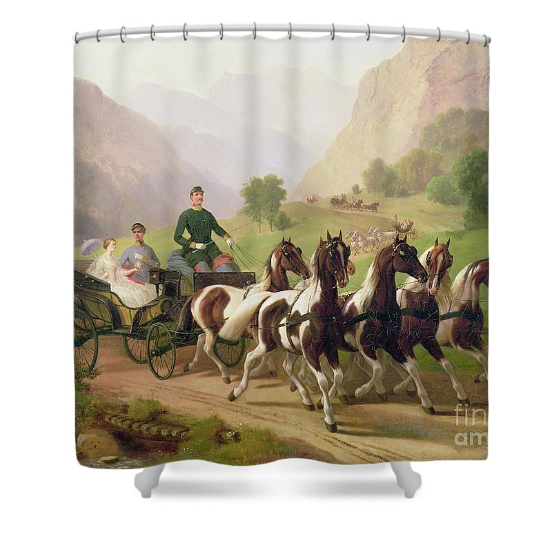 Emperor Shower Curtain featuring the painting Emperor Franz Joseph I Of Austria Being Driven In His Carriage With His Wife Elizabeth Of Bavaria I by Austrian School