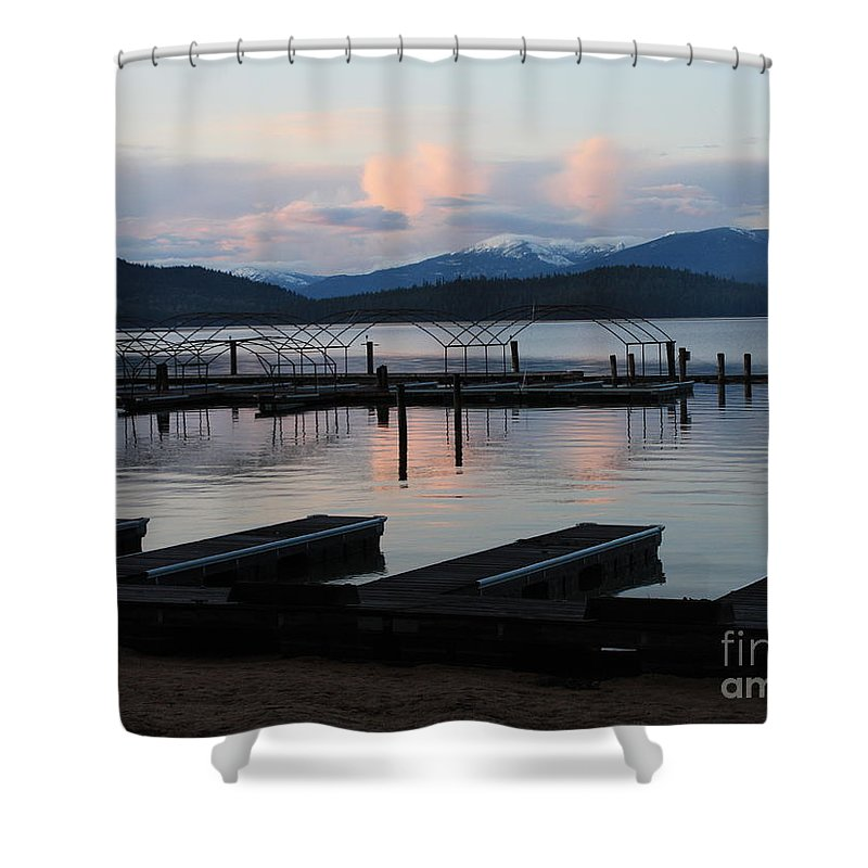 Priest Lake Shower Curtain featuring the photograph Empty Docks On Priest Lake by Carol Groenen