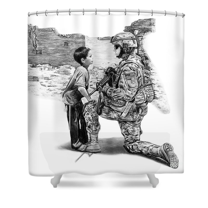 Empty Pockets Shower Curtain featuring the drawing Empty Pockets by Peter Piatt