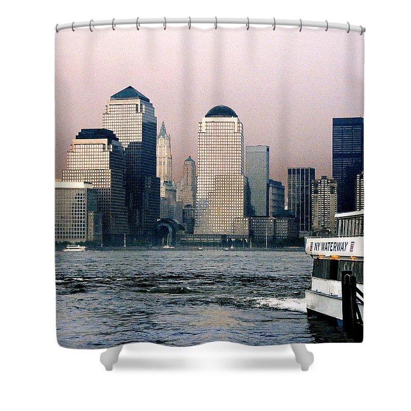 New York Shower Curtain featuring the photograph Empty Sky by Steve Karol