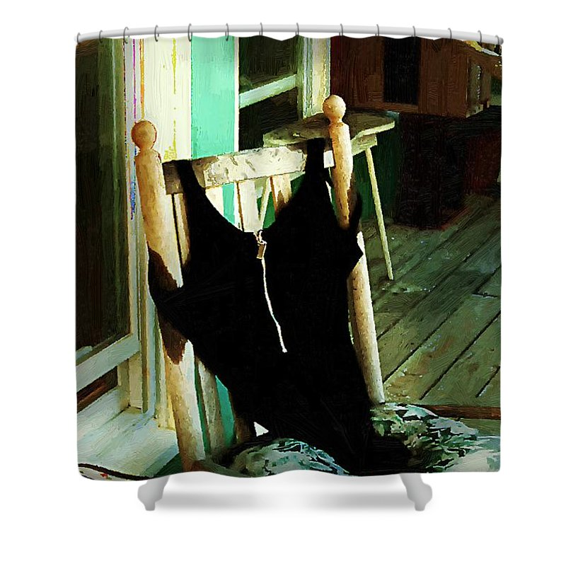 Bathing Suit Shower Curtain featuring the painting Empty Suit by RC DeWinter