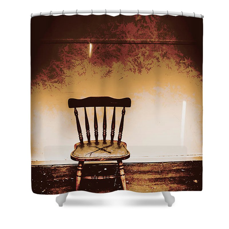 Chair Shower Curtain featuring the photograph Empty Wooden Chair With Cross Sign by Jorgo Photography - Wall Art Gallery