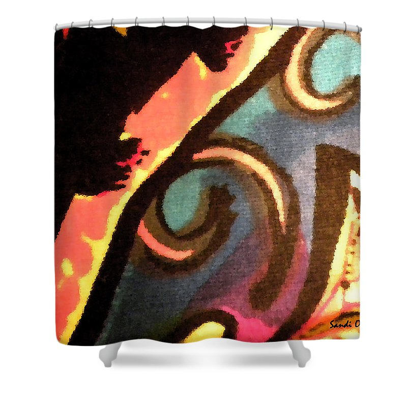 Abstract Shower Curtain featuring the mixed media En Joy Ll by Sandi OReilly