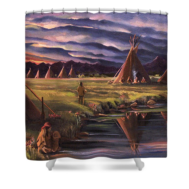 Native American Shower Curtain featuring the painting Encampment At Dusk by Nancy Griswold