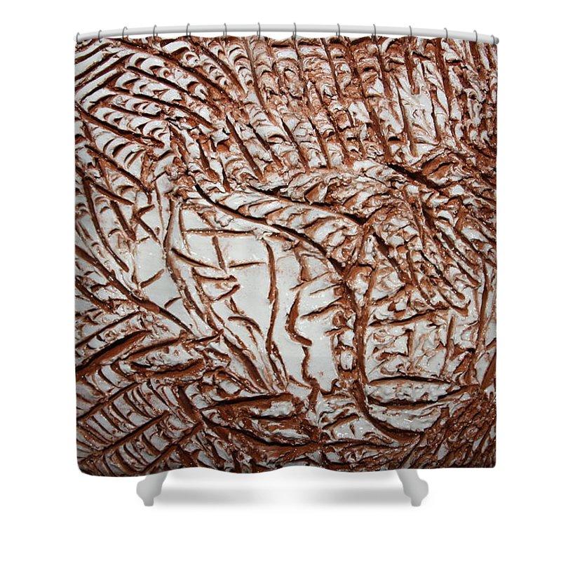 Jesus Shower Curtain featuring the ceramic art Encased - Tile by Gloria Ssali
