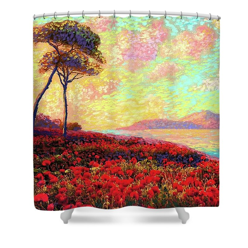 Floral Shower Curtain featuring the painting Enchanted by Poppies by Jane Small