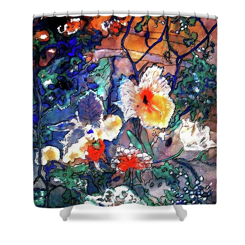 Landscape Shower Curtain featuring the painting Enchanted Garden by Norma Boeckler