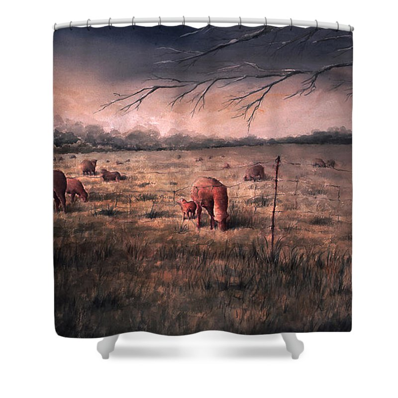 Landscape Shower Curtain featuring the painting A childhood by William Russell Nowicki