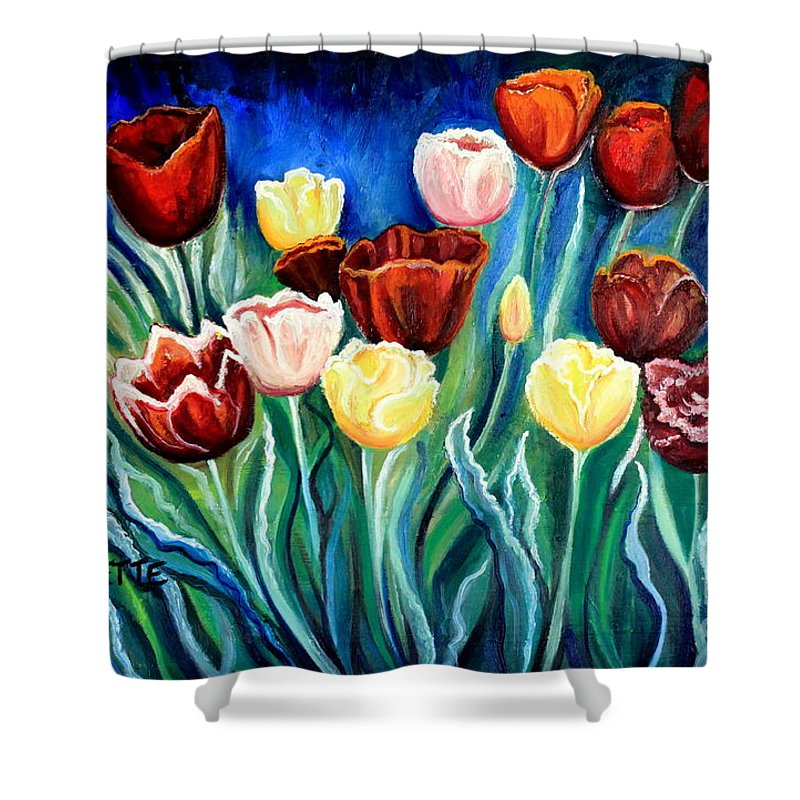 Tulips Shower Curtain featuring the painting Enchanted Tulips by Elizabeth Robinette Tyndall