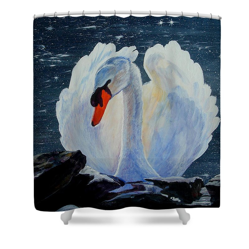 Swan Shower Curtain featuring the painting Enchanting by Susan Duda