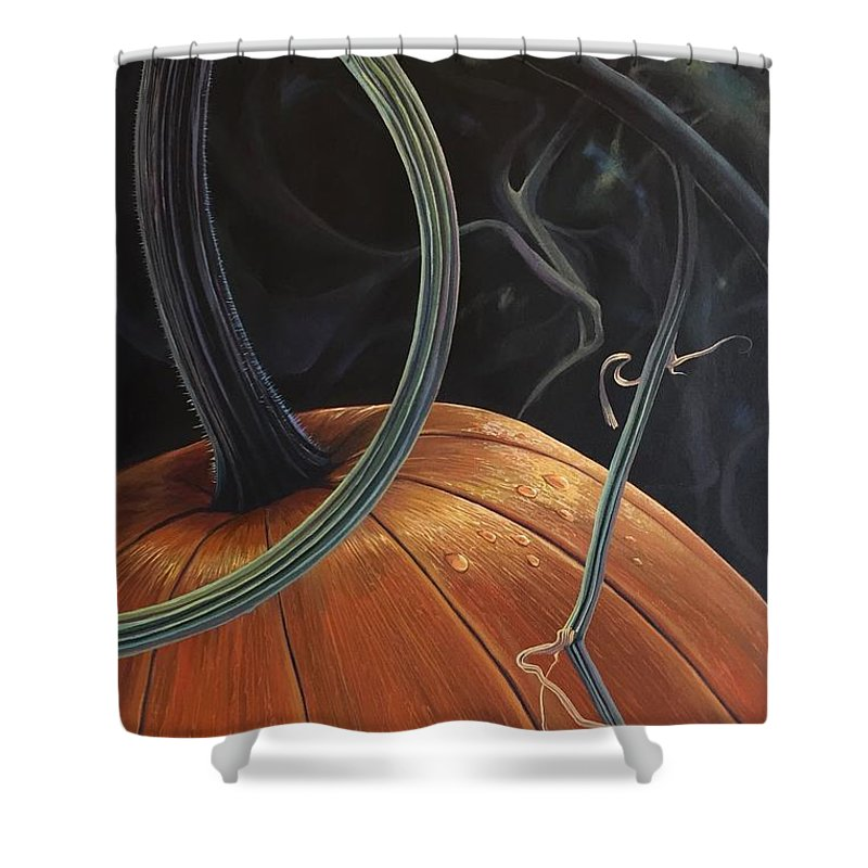 Pumpkin Shower Curtain featuring the painting Enchantment by Hunter Jay