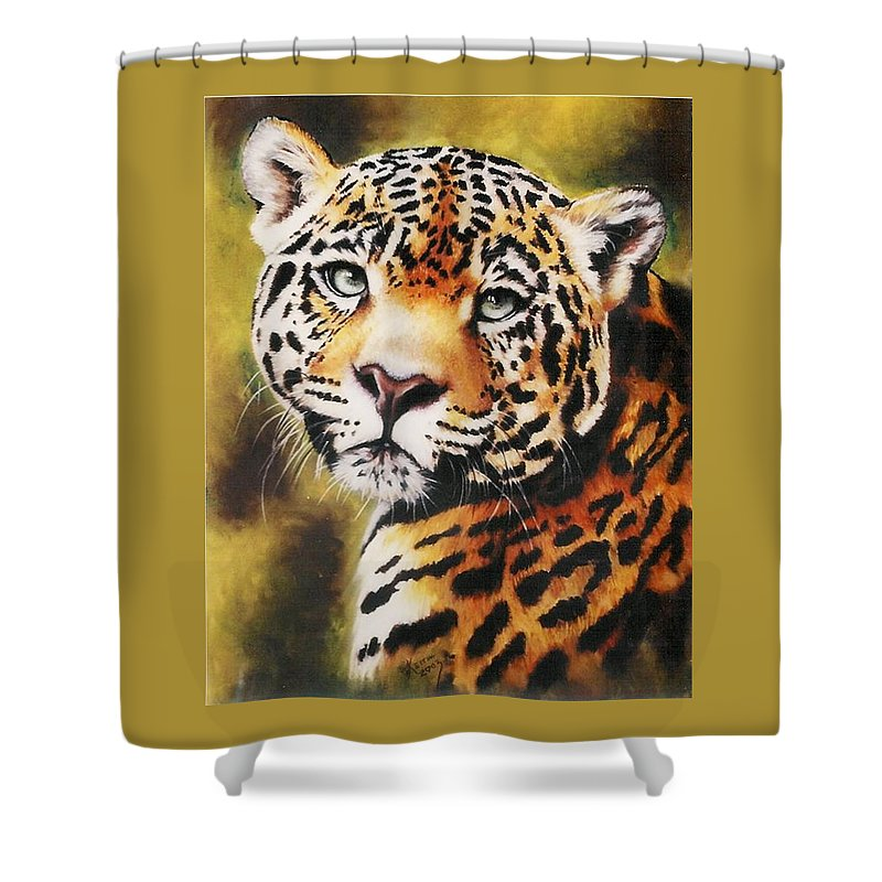 Jaguar Shower Curtain featuring the pastel Enchantress by Barbara Keith