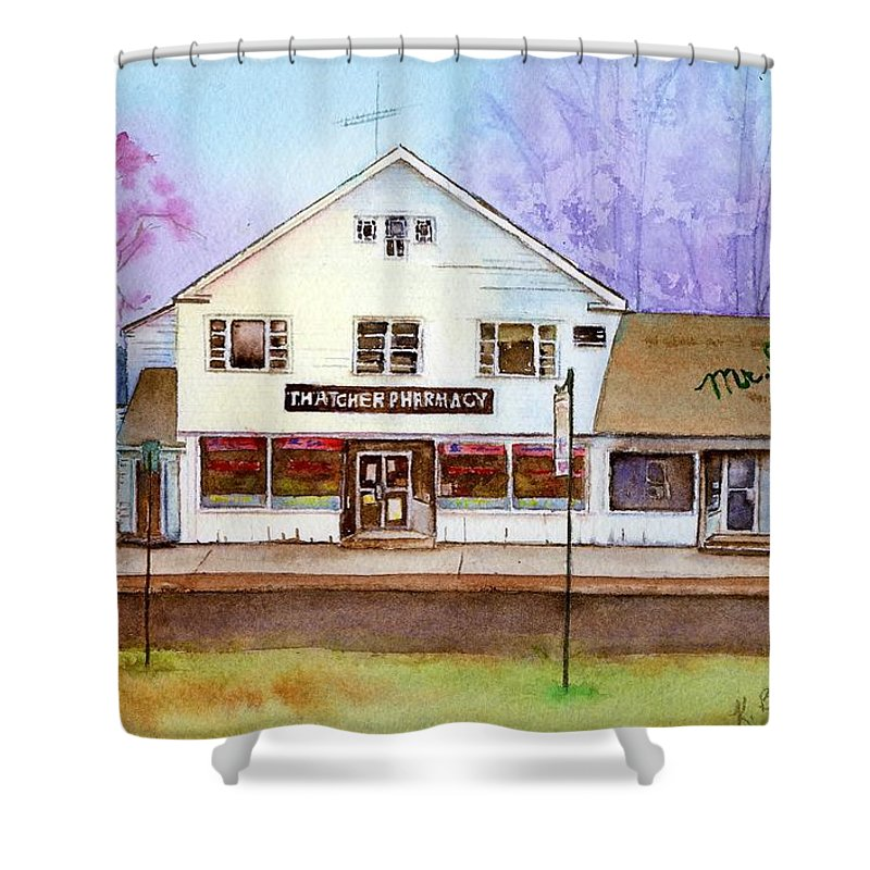 Landscape Shower Curtain featuring the painting End Of An Era by Katherine Berlin