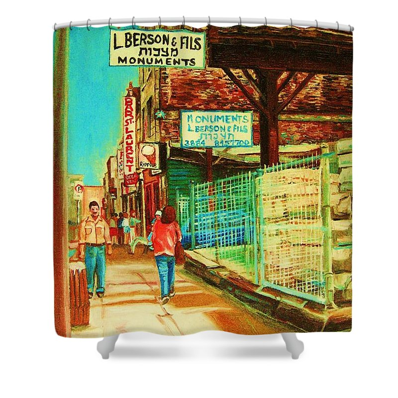 Berson Monuments Shower Curtain featuring the painting End Of Days by Carole Spandau