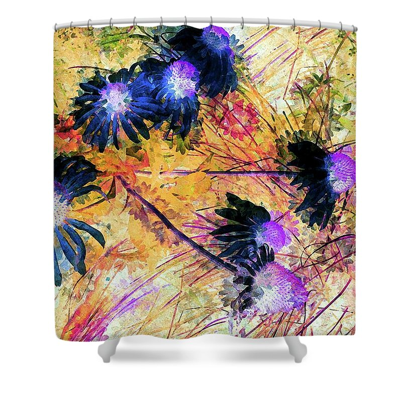 Flowers Shower Curtain featuring the painting End Of Summer by Jamie Holbrook