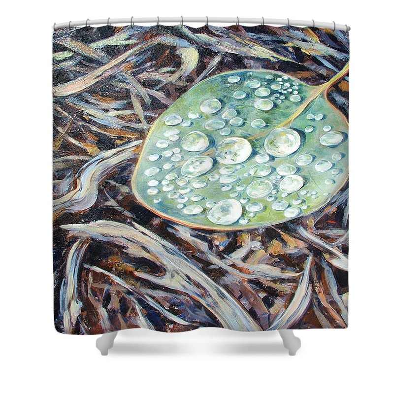 Ekaterina Mortensen Shower Curtain featuring the painting End Of The Drought by Ekaterina Mortensen