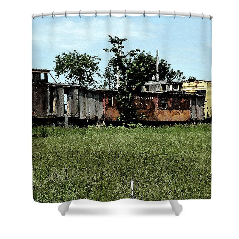 Railroad Shower Curtain featuring the photograph End Of The Line by Don and Sheryl Cooper