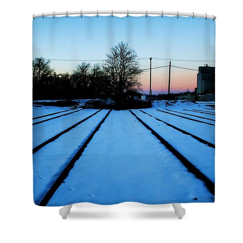 Sunset Shower Curtain featuring the photograph End Of The Tracks by Angus Hooper Iii