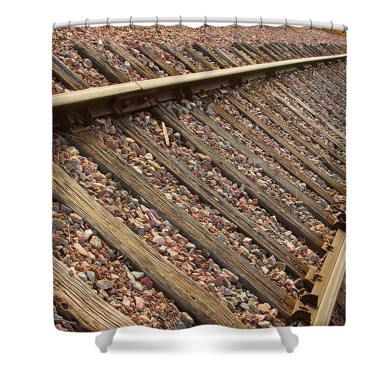 Train Shower Curtain featuring the photograph End Of The Tracks by James BO Insogna