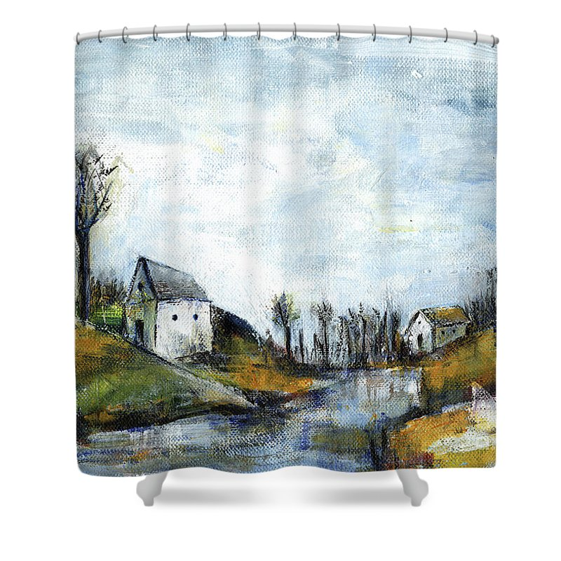 Landscape Shower Curtain featuring the painting End Of Winter - Acrylic Landscape Painting On Cotton Canvas by Aniko Hencz