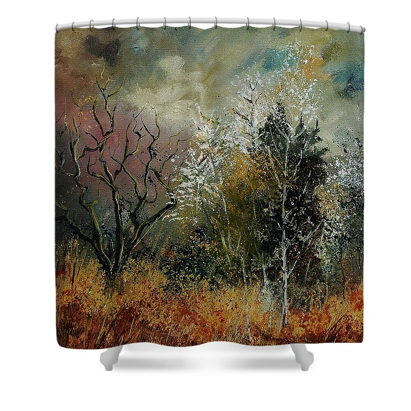 River Shower Curtain featuring the painting End Of Winter by Pol Ledent
