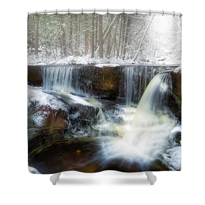Winter Shower Curtain featuring the photograph Enders Ice by Bill Wakeley