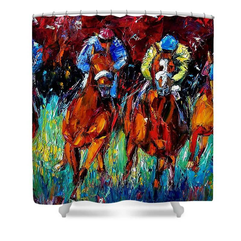 Horse Race Shower Curtain featuring the painting Endurance by Debra Hurd