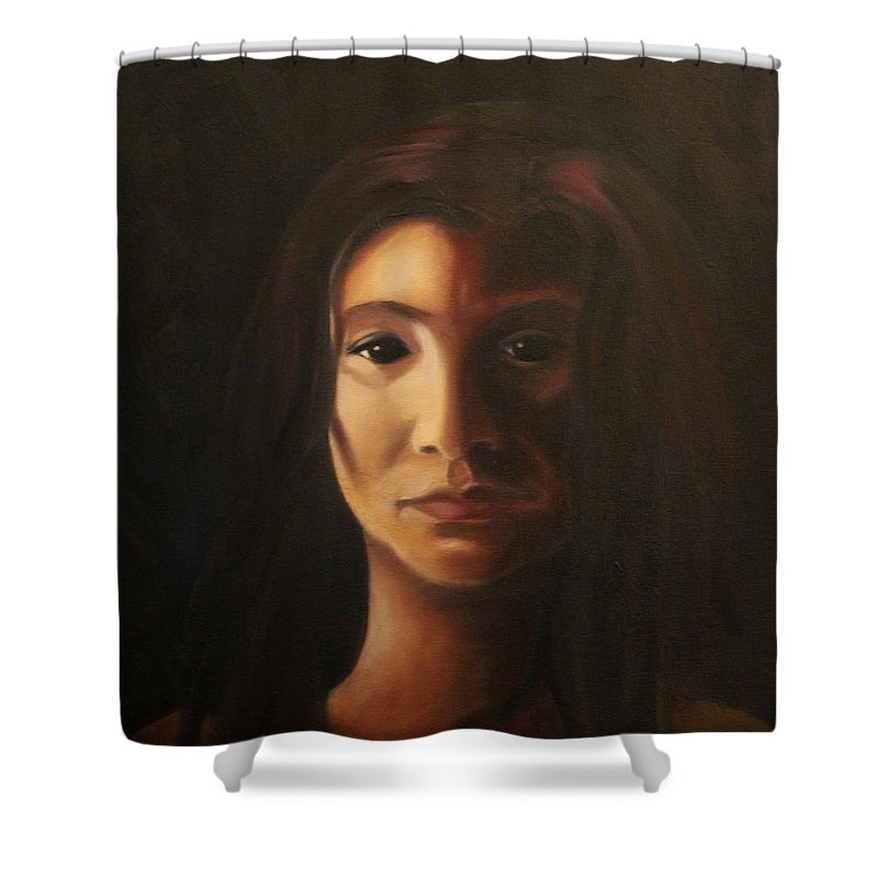 Woman In The Dark Shower Curtain featuring the painting Endure by Toni Berry