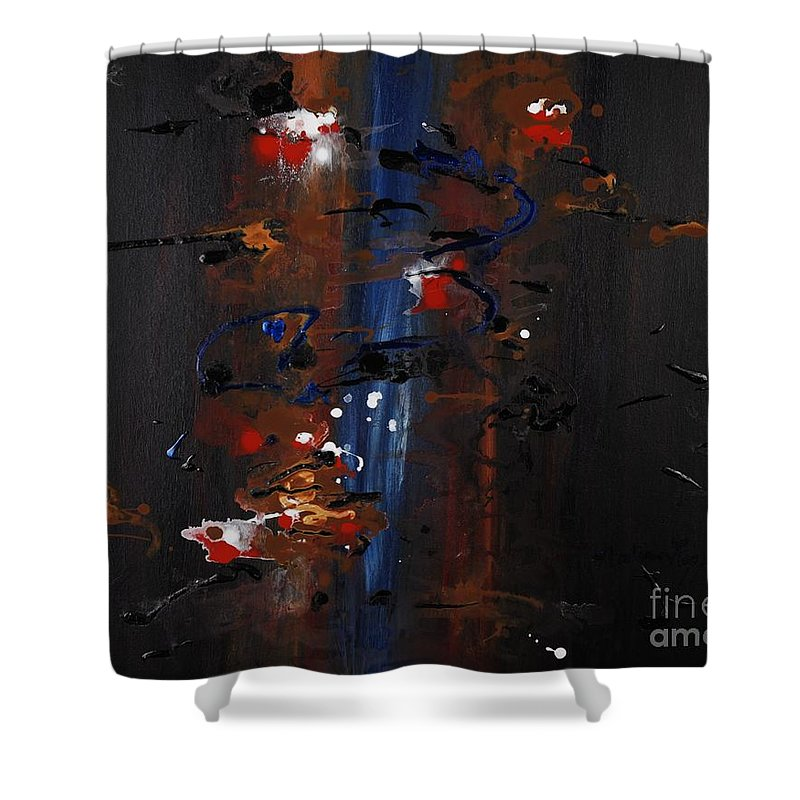 Black Shower Curtain featuring the painting Energy by Nadine Rippelmeyer