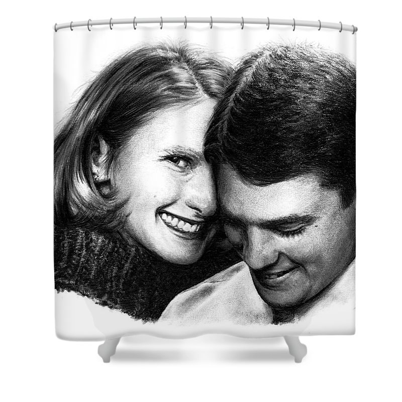Portrait Shower Curtain featuring the drawing Engaged by Rachel Christine Nowicki
