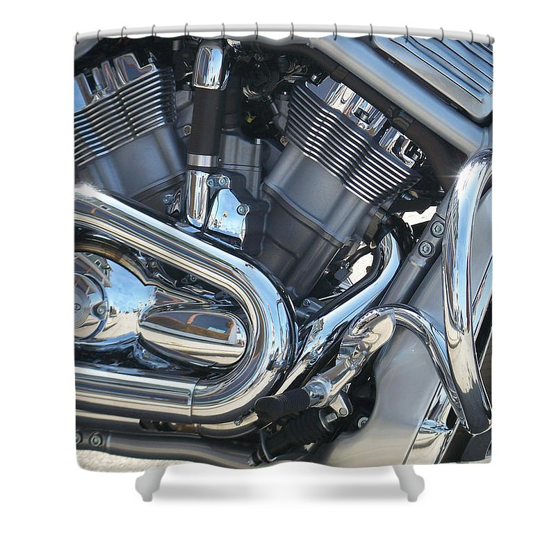 Motorcycle Shower Curtain featuring the photograph Engine Close-up 1 by Anita Burgermeister