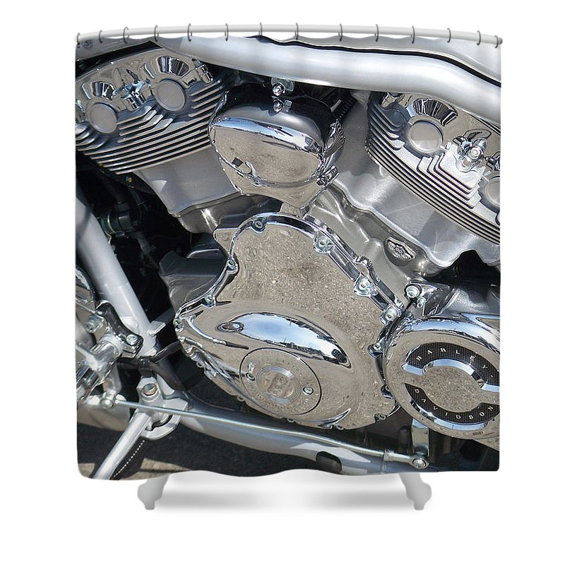 Motorcycle Shower Curtain featuring the photograph Engine Close-up 2 by Anita Burgermeister