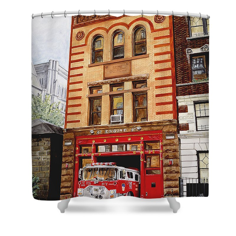 Firehouse Shower Curtain featuring the painting Engine Company 47 by Paul Walsh