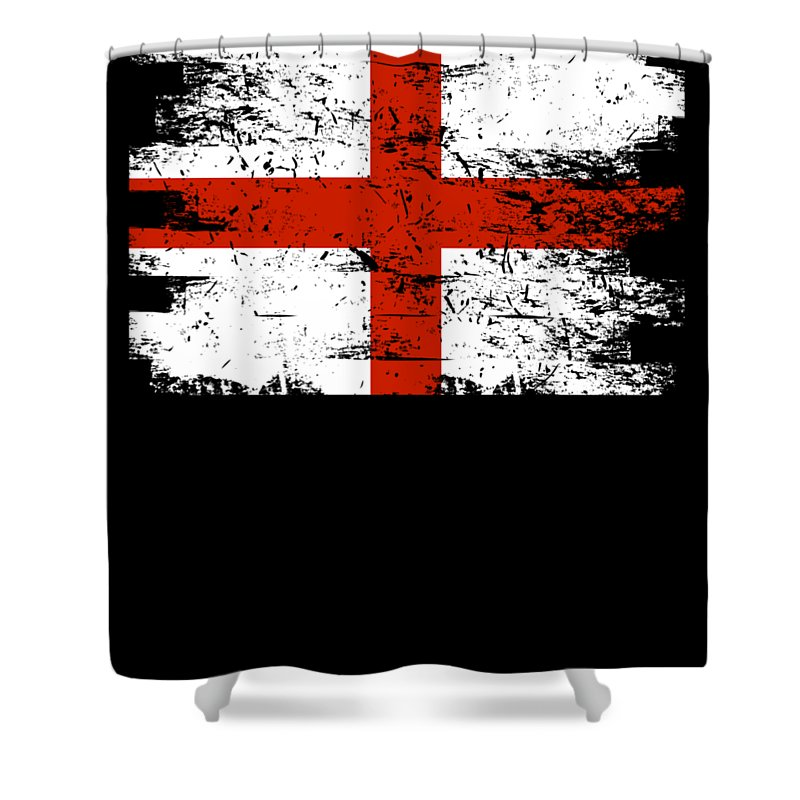 Patriotic Shower Curtain featuring the digital art England Gift Country Flag Patriotic Travel Shirt Europe Light by J P