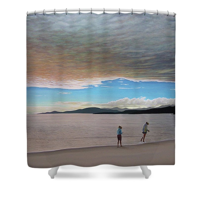 Landscapes Shower Curtain featuring the painting English Bay Vancouver by Kenneth M Kirsch