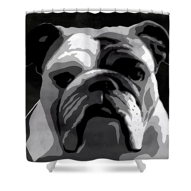 Bulldog Shower Curtain Featuring The Painting English Animal Black And White Decorative Wall Poster 2