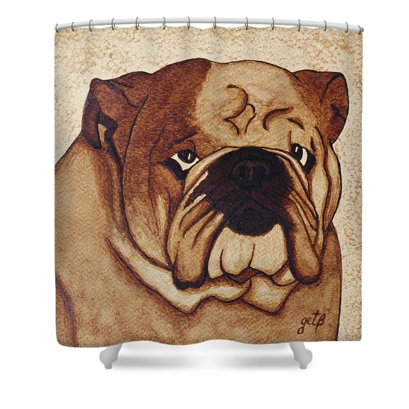 English Bulldog Coffee Painting On Paper Shower Curtain Featuring The By