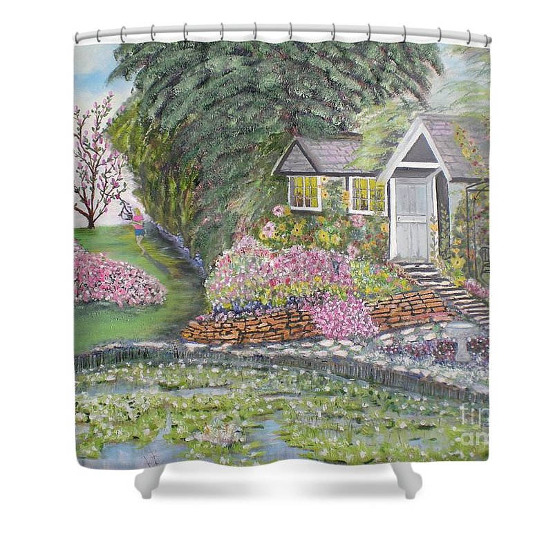 Cottage Shower Curtain featuring the painting English Cottage by Hal Newhouser