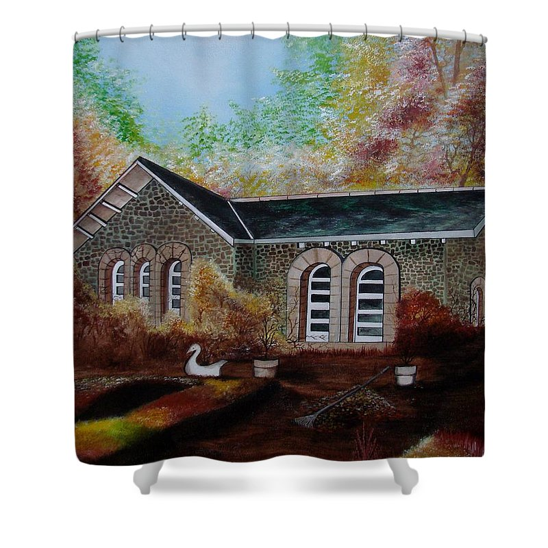 Autmn Shower Curtain featuring the painting English Cottage in the Autumn by Glory Fraulein Wolfe