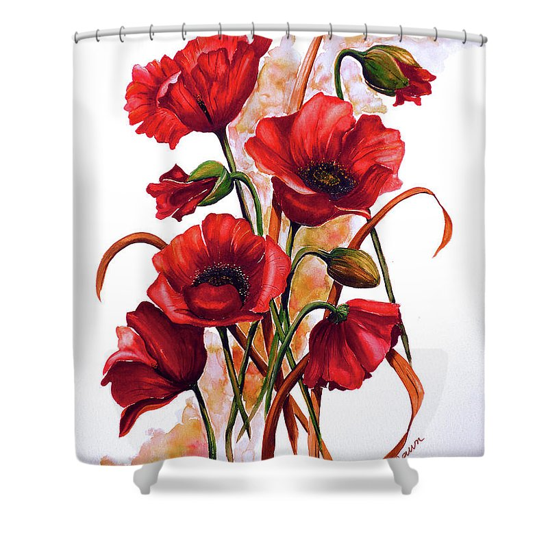 Red Poppies Paintings Floral Paintings Botanical Paintings Flower Paintings Poppy Paintings Field Poppy Painting Greeting Card Paintings Poster Print Painting Canvas Print Painting  Shower Curtain featuring the painting English Poppies 2 by Karin Dawn Kelshall- Best