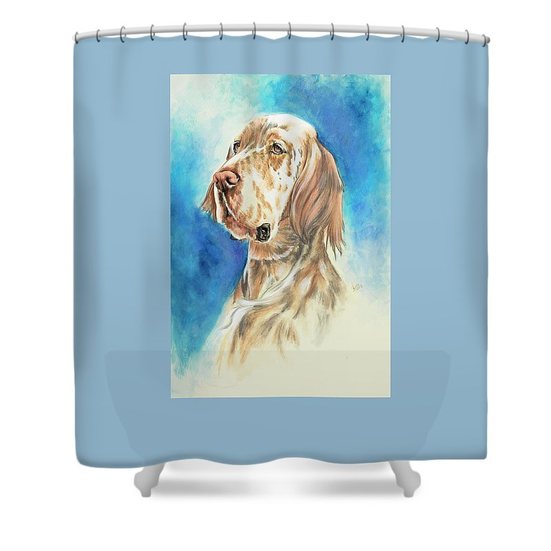Sporting Group Shower Curtain featuring the painting English Setter by Barbara Keith