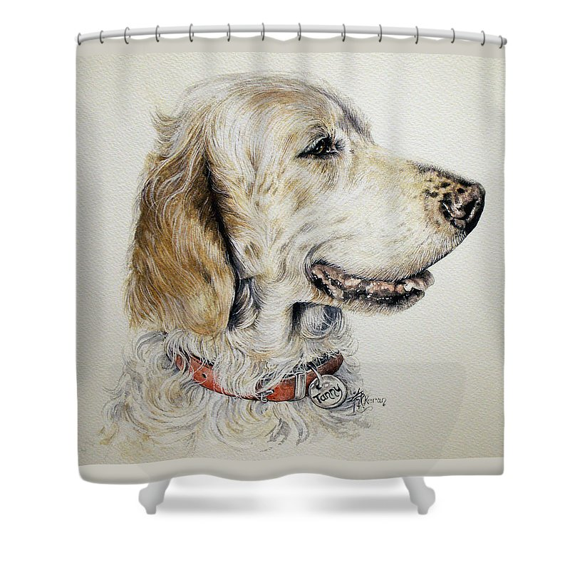 Englsh Setter Shower Curtain featuring the painting English Setter by Keran Sunaski Gilmore