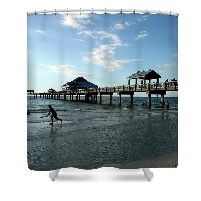 Beach Shower Curtain featuring the photograph Enjoy The Beach - Clearwater Pier by Christiane Schulze Art And Photography