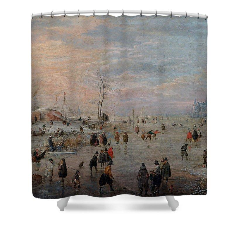 Hendrick Avercamp Shower Curtain featuring the painting Enjoying The Ice by Hendrick Avercamp