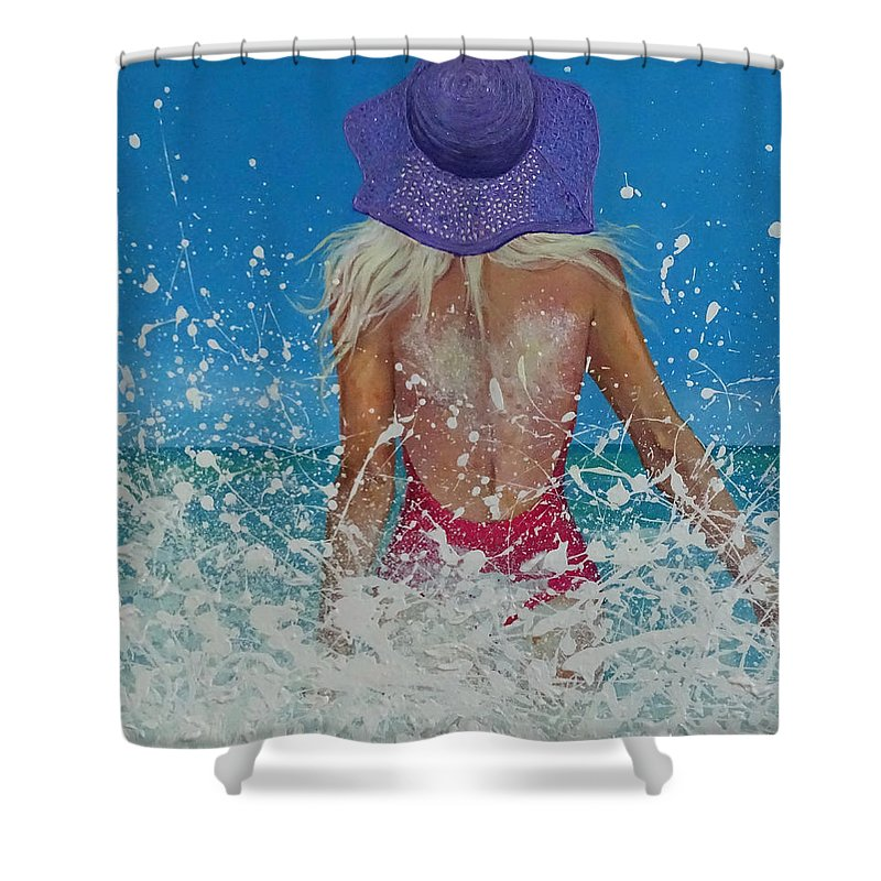 Relief Shower Curtain featuring the painting Enjoying The Sea by Polina Kamenska