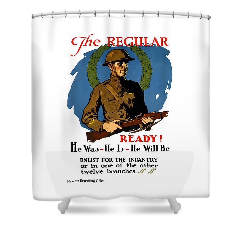 Infantry Shower Curtain featuring the painting The Regular - Enlist For The Infantry by War Is Hell Store